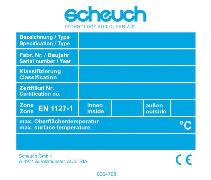 Scheuch spare parts label